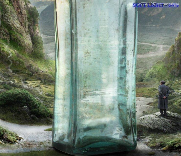 Photoshop合成山谷中爬滿藤蔓的瓶子