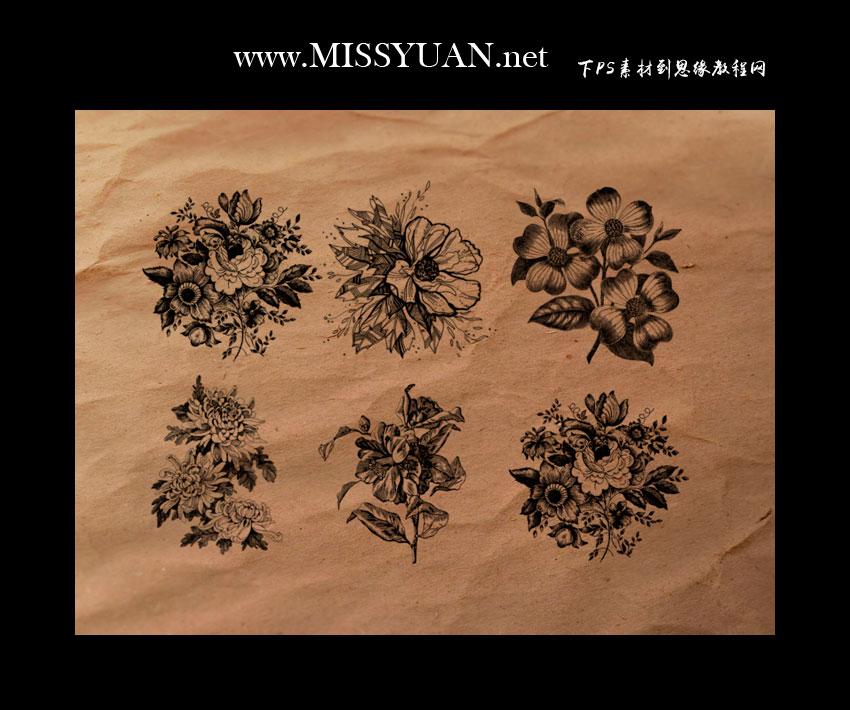 手绘花朵装饰PS笔刷