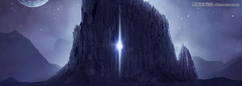Photoshop合成唯美的宇宙星空風景圖