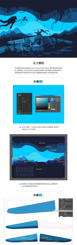 Illustrator绘制时尚的海底探险插画,PS教程,思缘教程网