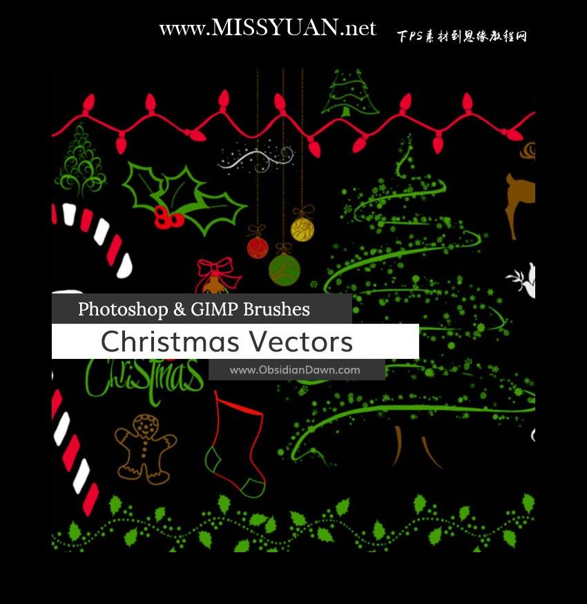 圣诞节主题元素PS笔刷