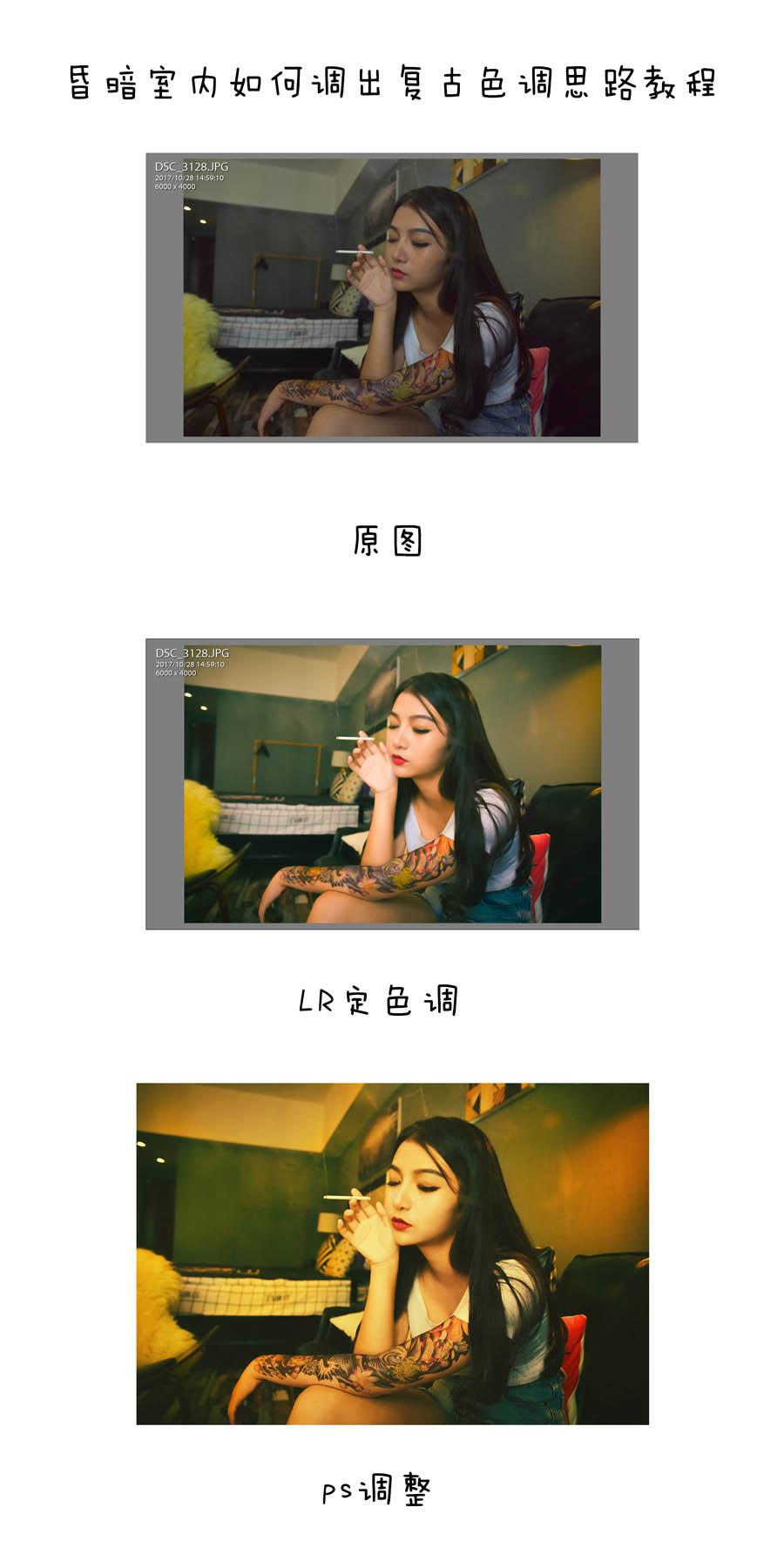 Photoshop结合LR调出室内人像复古黄色调,PS教程,思缘教程网