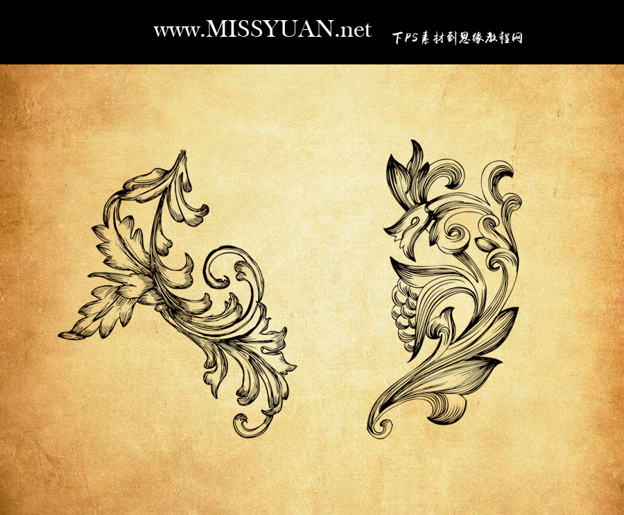 复古风格手绘花纹装饰PS笔刷