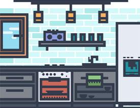 Illustrator创建MEB风格的厨房简约布局