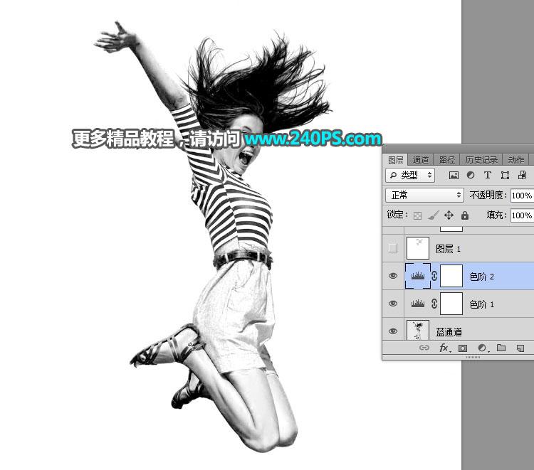 Photoshop去背出多髮絲的跳躍美女人像