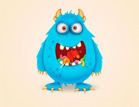 Illustrator绘制卡通风格的糖果怪物