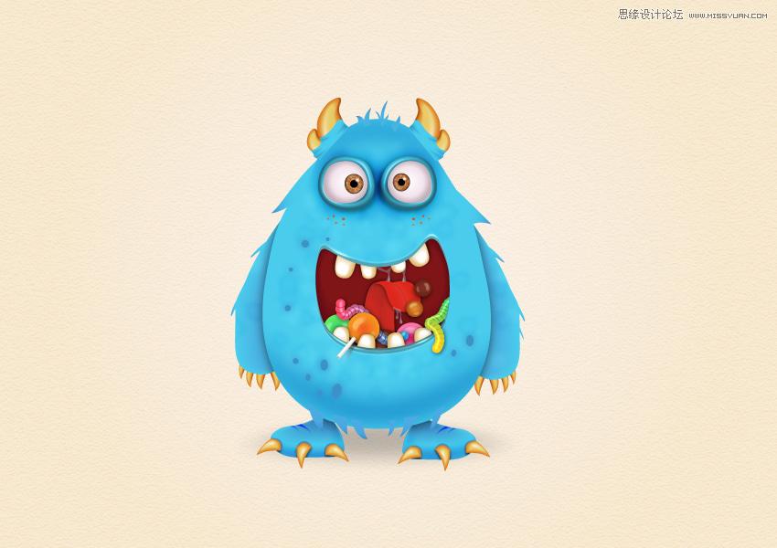 Illustrator繪製卡通風格的糖果怪物