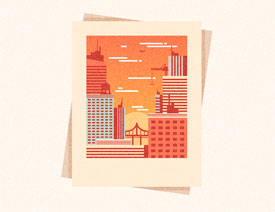 Illustrator绘制复古风格的城市黄金插画