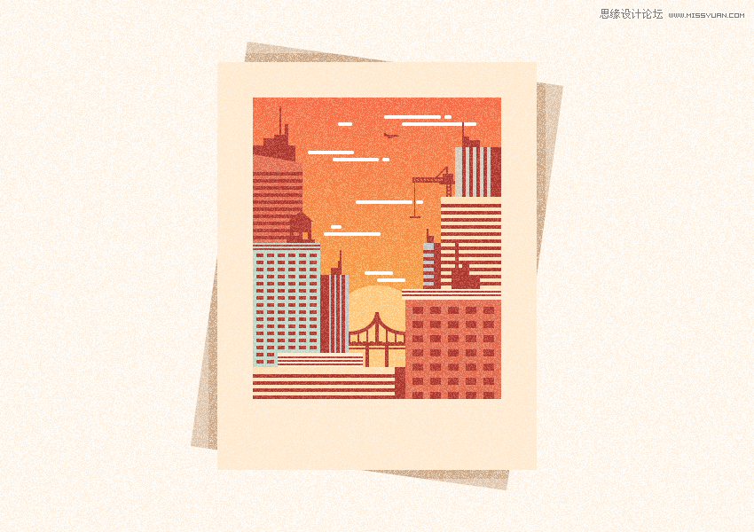 Illustrator繪製復古風格的城市黃金插畫