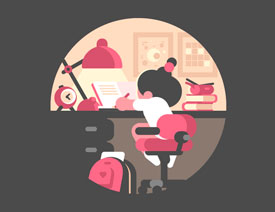 Illustrator绘制夜灯下的学习少女插画