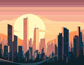 Illustrator绘制矢量风格的城市落日场景