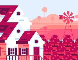 Illustrator绘制卡通风格的农场插画效果