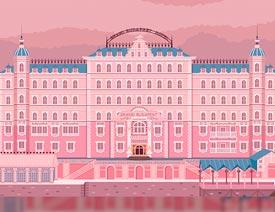 Illustrator绘制布达佩斯大饭店场景插画