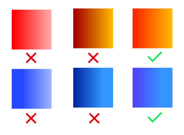 而是从一个颜色渐变到临近的色系,这样可以让画面,看上去视觉冲击力更