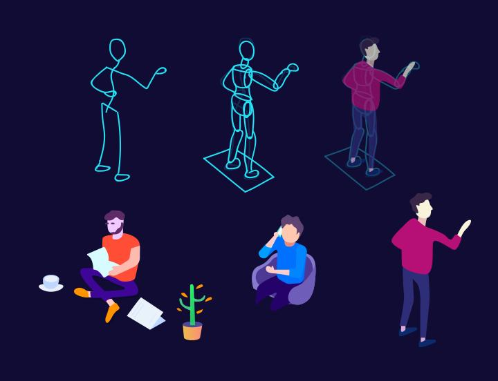 illustrator绘制时尚渐变风格的2.5d插画
