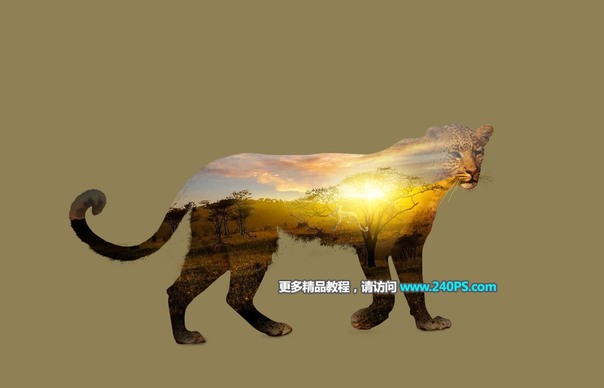 photoshop创意合成动物照片双重曝光效果