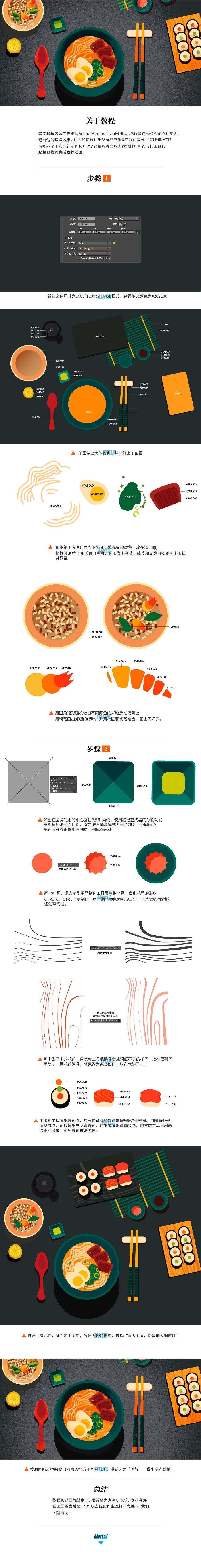 Photoshop设计磨砂风格的日本料理插画,PS教程,思缘教程网