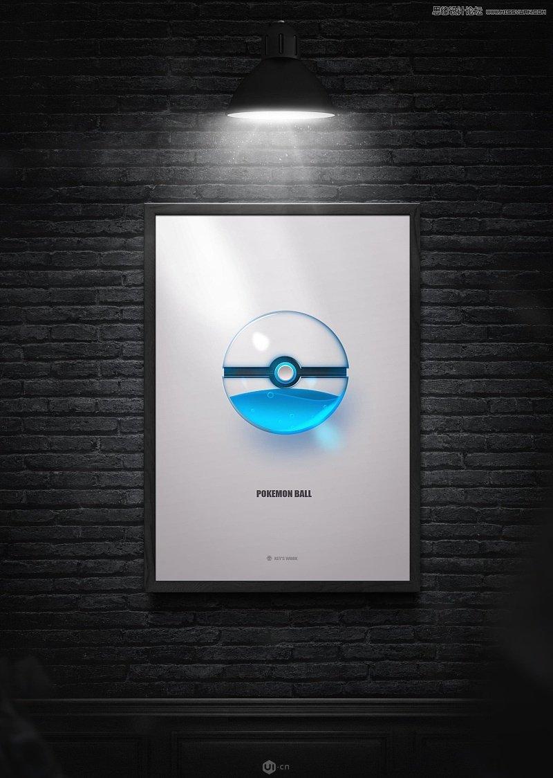 photoshop简单方法绘制玻璃质感的精灵球