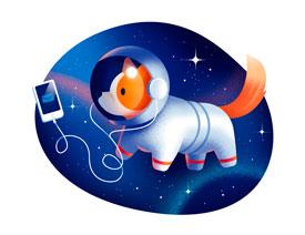 2017最新注册送白菜网绘制卡通风格的太空狗插画