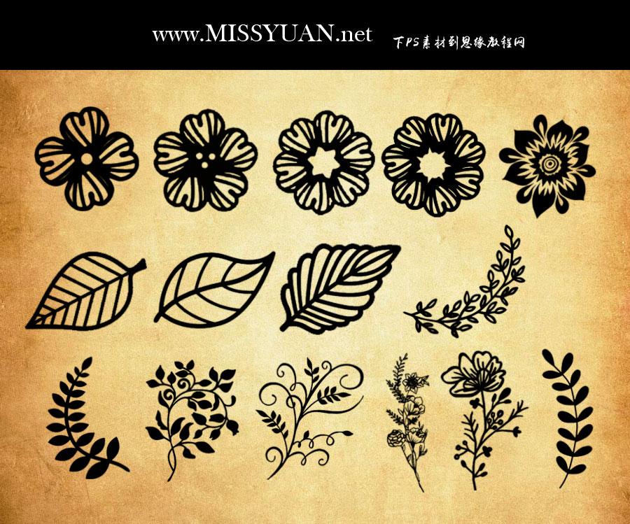 夏季花朵和藤蔓装饰PS笔刷