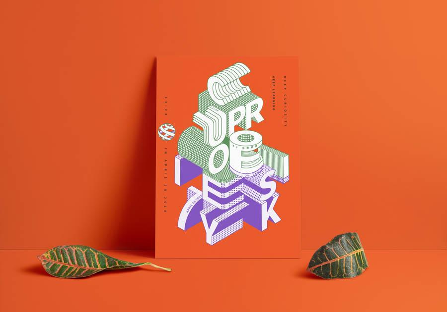 illustrator绘制立体字体为主题的海报作品