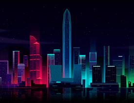 Illustrator绘制时尚绚丽的城市夜景插画