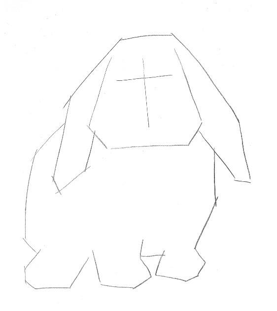 材料和工具准备 铅笔、橡皮 36色彩色铅笔、A4素描纸 完成图效果  Step 线稿起型 1.观察垂耳兔的体态特征,头部呈梯形,眼睛位于头部中线以上,耳朵下垂于体侧,呈八字形。 2.用2B铅笔勾出五官和四肢的轮廓,确定位置。 提示:随着绘画的深入,我们会逐渐将线条擦掉,在这里用较长的直线勾勒即可。  3.