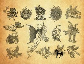 创意的飞马纹身图案PS笔刷
