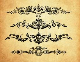 欧式美丽的对称花纹PS笔刷