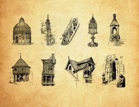 欧式手绘建筑PS笔刷