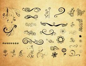 抽象的手绘花纹和花朵PS笔刷