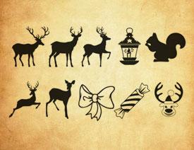 麋鹿和糖果等圣诞节元素PS笔刷