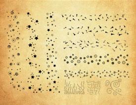 五角星和虚线装饰PS笔刷