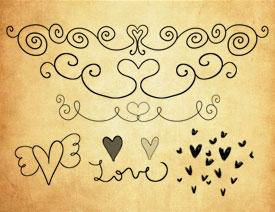 心形翅膀和花纹装饰PS笔刷