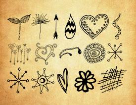 手绘五角星和花纹涂鸦元素PS笔刷