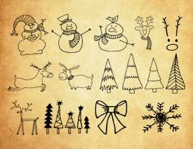 圣诞节手绘线稿元素PS笔刷