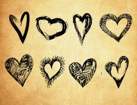 手绘涂鸦心形和爱心PS笔刷