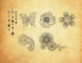 手绘花朵和蝴蝶图案PS笔刷