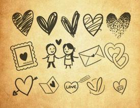 手绘爱心和信封PS笔刷