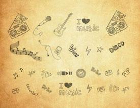 手绘音乐主题符号笔刷