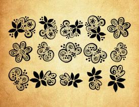 时尚的创意花朵装饰PS笔刷