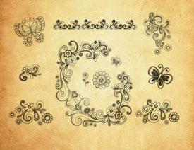 时尚手绘花纹和蝴蝶PS笔刷