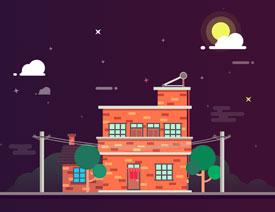 2017最新注册送白菜网设计扁平化风格的夜景房屋插画