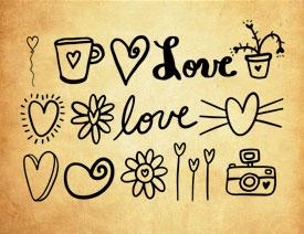 手绘LOVE和心形图案PS笔刷