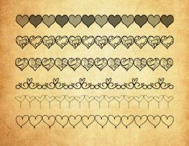 可爱的心形分隔符PS笔刷