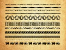 动物和古典花纹分隔符PS笔刷