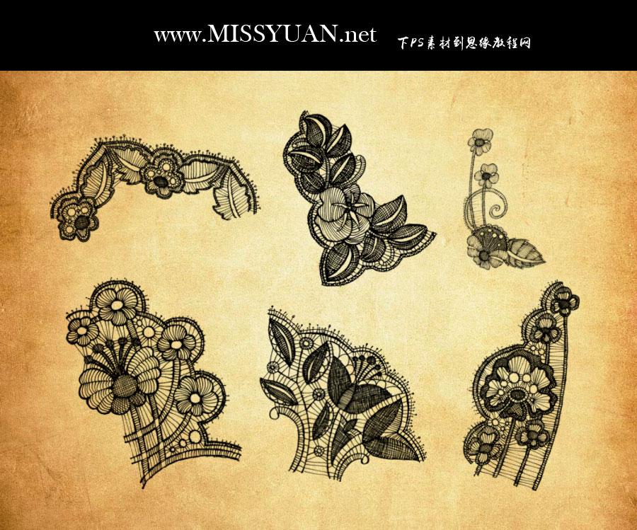 复古风格的蕾丝花朵和花边PS笔刷