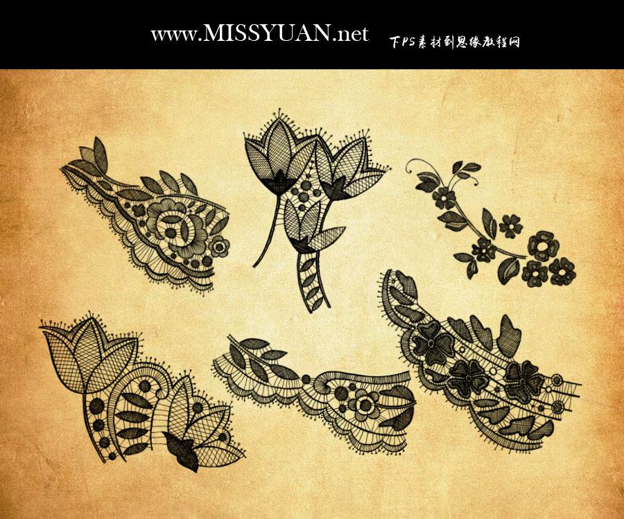 蕾丝主题花纹和花朵PS笔刷