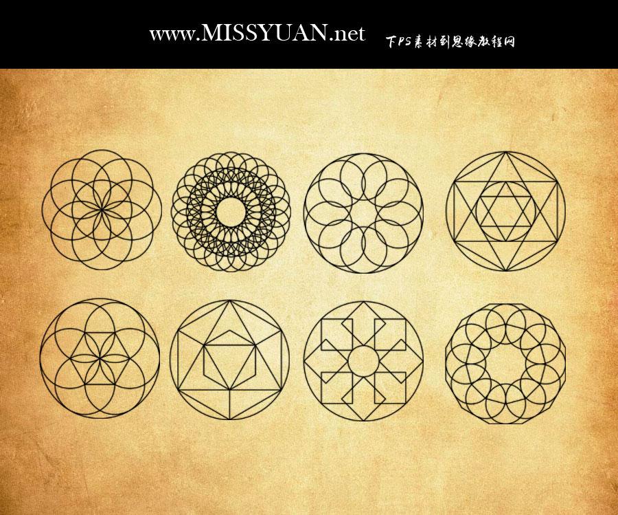 16种创意几何图形PS笔刷