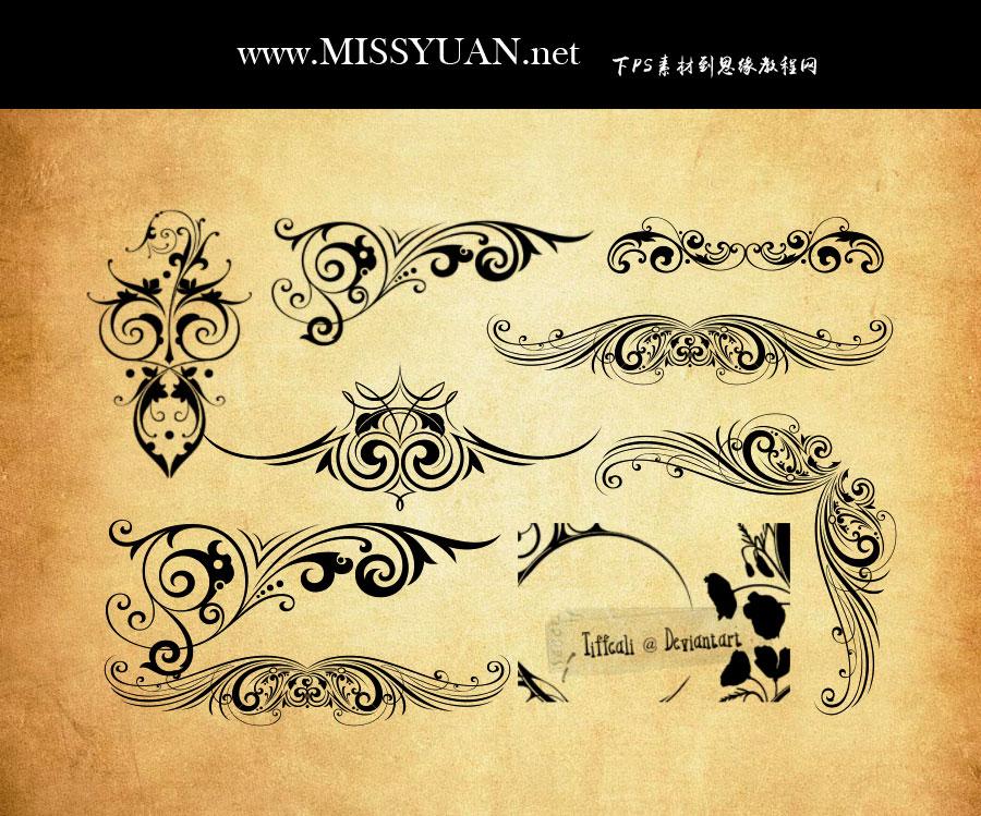 纤细的花纹和花边装饰PS笔刷